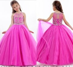 Lovely Princess Ball Gown Flower Girls Dresses Crew Floor Length ...