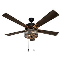 The Prairie 52 in. LED Oil Rubbed Bronze Caged Ceiling Fan brings design and function together in this rustic farmhouse designed lighted ceiling fan. Featuring a rustic distressed barnwood caged metal that encases the brown metal mesh and exposes th Caged Ceiling Fan, Led Ceiling, Black Ceiling, Metal Ceiling, Ceiling Fan Direction, Ceiling Fan Makeover, White Light Bulbs, Fan Light Kits, Wood Grain Texture