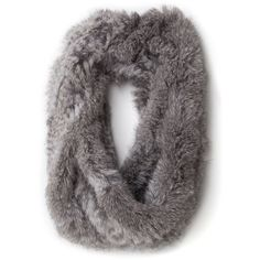 Jocelyn Exclusive Short Rabbit Infinity Scarf: Grey (£72) found on Polyvore