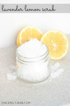 DIY Sugar Scrub Recipes : Lavender and Lemon Salt Scrub Salt Body Scrub, Diy Body Scrub, Face Scrub Homemade, Diy Scrub, Diy Beauty Regimen, Beauty Tips, Beauty Products, Lush Products, Body Products
