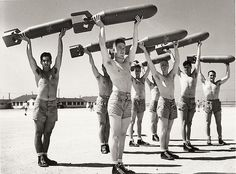 Now that's a unique workout! These 1940 American Soldiers exercise with 100lb bombs to stay fit.