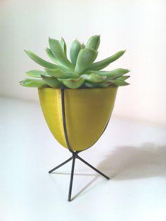 Miniature Bullet Planter in Moss Yellow by GardenforOtium on Etsy