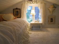 Guest room in the tiniest home I've ever seen, but it's the coziest I've ever seen via A Joyful Cottage