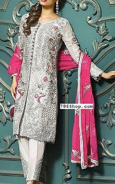 Silver Chiffon Suit | Buy Asim Jofa Pakistani Dresses and Clothing online in USA, UK