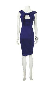 Karen Millen Solid Color Dresses Blue With Butterfly Tie Outlet