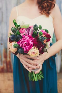 Colorful bridesmaid bouquet full of texture. Magenta Wedding, Floral Wedding, Wedding Colors, Wedding Flowers, Bridesmaid Skirts, Bridesmaid Bouquet, Wedding Bouquets, Wedding Dresses, Bridesmaid Separates