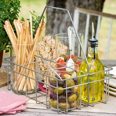 Organize Outdoor Party Food and Drinks  Optimize the use of trays, buckets, baskets, and other household items for your next outdoor party. Whether you're hosting a big neighborhood potluck or a small outdoor gathering among friends, we show you how to keep everything together (and easily transportable) with our simple tips for organizing and serving outdoor party food and drinks.