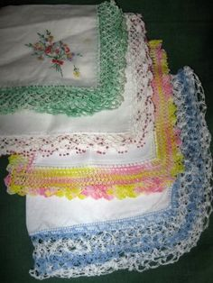 Vintage Ladies Hankies - crocheted edging