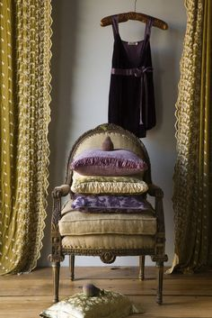 Purple and yellow - chair, curtains, dress