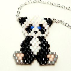 Seed Bead Panda Necklace Cute Animal Jewelry Silver von BeadCrumbs