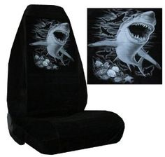 Amazon.com: Seat Cover Connection Great White Shark print 2 High ...