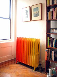 No more ugly radiator sticking out like a sore thumb, when you do a DIY ombre paint job. You'll have a gorgeous conversation piece instead.
