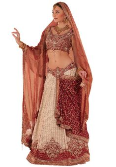BW58 Off White & Maroon Lehenga PANETAR An off white and maroon with a combination of the bandhani skirt with banarasi georgette brocade drape ending right shoulder at back of blouse and a tissue dupatta, all embroidered in artwork technique using th