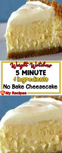 5 Minute 4 Ingredient No Bake Cheesecake! Dessert Weight Watchers, Plats Weight Watchers, Weight Watchers Diet, Ww Desserts, Healthy Desserts, Dessert Recipes, Plated Desserts, Healthy Foods, Dessert Simple
