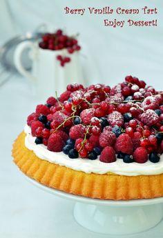 Tarta cu crema de vanilie si fructe de padure Vanilla Cream, Ice Cream, Food Cakes, Healthy Recipes, Healthy Foods, Beautiful Cakes, Cake Recipes, Raspberry, Cheesecake