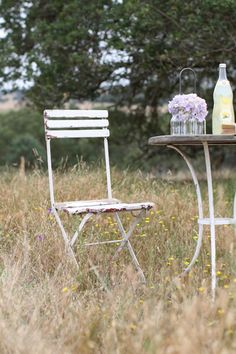 Antique White French  Bistro Chair