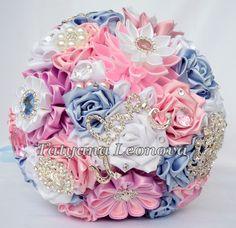 Wedding accessories: 15 hairpins ribbon braids 15 flowers by LIKKO