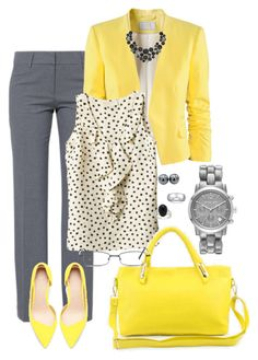 """Yellow Accents"" by jensmith1228 ❤ liked on Polyvore featuring H&M, MICHAEL Michael Kors, Zara, Carolee, GlassesUSA, INC International Concepts, Michael Kors and De Buman"