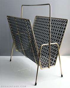 1950's ATOMIC VINTAGE PERFORATED MESH BLACK + GOLD METAL UNION JACK GEOMETRIC MAGAZINE RACK - SOLD