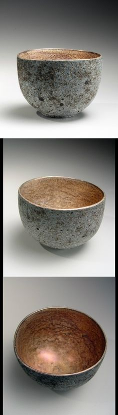 Iguchi Daisuke (b. 1975)  Round ash-glazed and smooth surfaced teabowl with silver-glazed interior, 2013 Stoneware with ash and silver glazes 4 1/2 x 6 x 5 7/8 in.