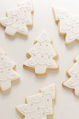 white christmas tree cookies for @Erica Cerulo Anderson's husband who would prefer I only made white cookies