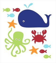 Fisch Wal und Krabben Wandtattoo Kinder Kid's von FieldandFlower, $20.00