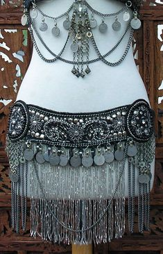 Tribal Beaded Belt Black Belly Dance by Belly Dance Belt, Belly Dance Outfit, Belly Dance Costumes, Belly Dancers, Style Outfits, Dance Outfits, Dance Dresses, Dancing Outfit, Tribal Fusion