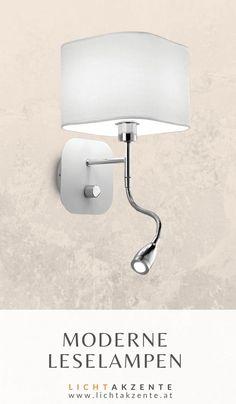"""Moderne Wandleuchte mit LED Leselampe """"Holiday"""". Die Bett Leseleuchte mit weißen Lampenschirm verbindet moderne LED Technik und zielgerichtetetes Leselicht. Ob Schlafzimmer oder Wohnzimmer, diese Nachttischlampe passt in beiden Räumen. Auch im Wohnzimmer passt dieses Leselicht über der Couch. #leselampe wand #nachttischlampe wand #kopfteil #beleuchtung #lampe #lampen und leuchten #lichtakzente Sconces, Wall Lights, Couch, Interior Design, Lighting, Home Decor, Modern Light Fixtures, Bedroom Lamps, Nest Design"""