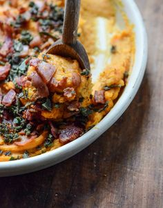 bacon bourbon whipped sweet potatoes with brown butter and crispy sage I howsweeteats.com