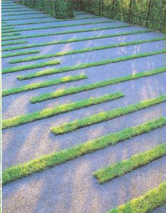 Grass and gravel pattern is soothing. And seems like a practical way to add a little green to a parking area. Modern Landscaping, Outdoor Landscaping, Outdoor Gardens, Landscape Architecture, Landscape Design, Garden Design, Garden Pavers, Driveway Pavers, Driveway Ideas