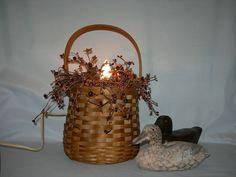 Vintage Primitive Woven Basket Lamp Country Rustic