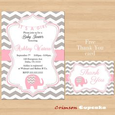 Printable Chevron Elephant Girl Pink Grey Baby Shower Invitation Its a girl Free Thank You Card