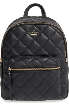 A diamond-quilted finish enhances the vintage sophistication of this Kate Spade leather backpack that's a chic everyday alternative to ordinary handbags.