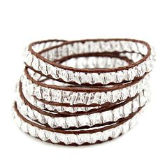 """clear crystals wrapped original brown leather Oval button with 3 adjustable closures that measures 32""""/ 33"""" / 34"""" in length"""
