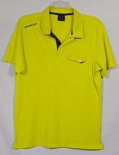 OAKLEY Mens Hydrolix Lime Green Short Sleeve Polo Shirt Large Snaps at Collar #Oakley #PoloRugby