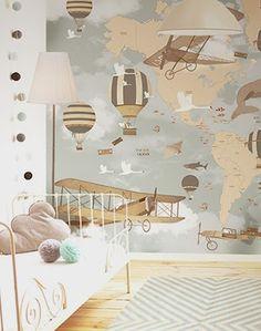 little hands: Little Hands Wallpaper Mural - World Map Travel II