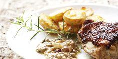 Frango com alho-poró, creme de leite e batatas coradas | DigaMaria.com