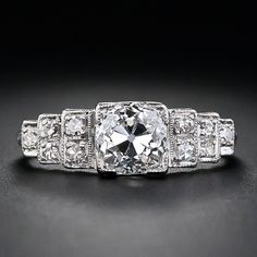 1.28 Carat Diamond Art Deco Engagement Ring