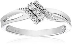 1//10 cttw, G-H,I2-I3 Size-11 3 Diamond Promise Ring in 14K Pink Gold
