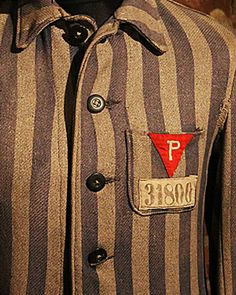 "Joseph Wardzula remembers kidnapping by germans in Tarnow  Concentration camp uniform with ""P"" patch for Polish"