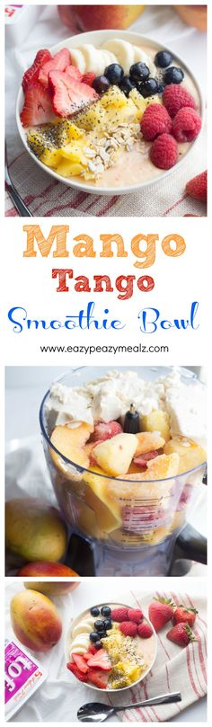 Eat, don't drink your morning smoothie with this nutritious, delicious Mango Tango Smoothie Bowl! Protein packed and full of everything you need for a great day. - Eazy Peazy Mealz