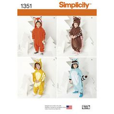 Simplicity Creative Patterns 1351 Toddlers' Animal Costumes Sewing Patterns, Size A Raccoon Costume, Fox Costume, Costume Shop, Easy Sewing Patterns, Simplicity Sewing Patterns, Kids Patterns, Clothing Patterns, Bebe Real, Onesie Costumes