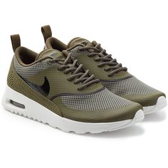 Nike Air Max Thea Textured Sneakers (€95) ❤ liked on Polyvore featuring shoes, sneakers, zapatos, green, nike, green sneakers, green shoes, urban footwear and nike sneakers