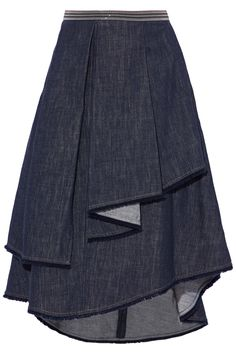 Fringe-trimmed layered denim skirt | BRUNELLO CUCINELLI | Sale up to 70% off | THE OUTNET