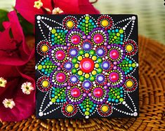 Mandala Dot Art, home boho decor, acrylic paint on canvas, mandala wall art, mandala hand painting