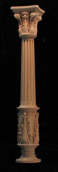 Wood carved column - full round