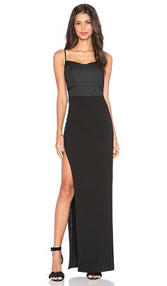 Michelle Mason Side Slit Corset Gown in Black & Black
