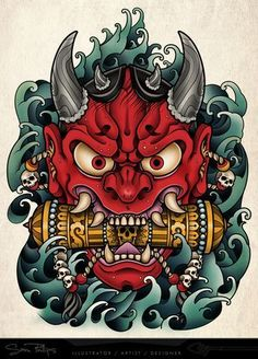 Japanese 'ONI' mask tattoo I designed as a stomach tattoo for client of tattooist Shaun Loyer. Interesting that these old masks are now how a lot if other cultures see's the 'devil' Oni Tattoo, Yakuza Style Tattoo, Raijin Tattoo, Hanya Tattoo, Devil Tattoo, Japanese Oni Mask, Japanese Demon Tattoo, Japanese Tattoos, Samurai Maske Tattoo