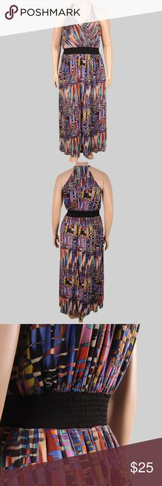 City Chic Feather Print Maxi dress Size L/city chic size 20 Stretch-jersey maxi dress with chiffon overlay and surplice V-neck, slight stretch, sleeveless, elasticized waistband, slip-on design, allover abstract print, lined. Length 53in 134.62cm Waist 26in 66.04cm Bust 15in 38.10cm pair with a pair of shoes get a 15% discount City Chic Dresses Maxi