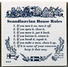 """Finnish Gift Idea Plaque """"Scandinavian House Rules"""""""